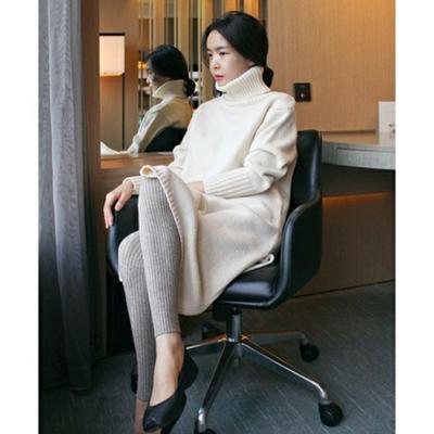 2017秋冬高领中长款纯羊绒衫宽松针织打底衫加厚毛衣女韩国毛衣裙