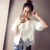 圆领短款 T恤女 显瘦蝴蝶结上衣潮灯笼袖 韩版 修身 女装 2016夏季新款