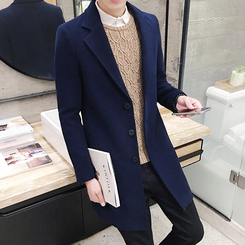2017秋冬款韩式风衣中长款男士韩版修身毛呢大衣青年帅气加厚外套
