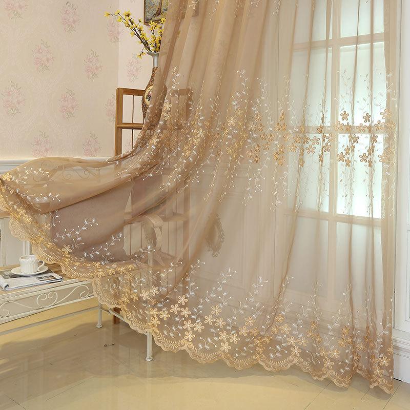 欧式田园刺绣花窗帘成品白色纱帘定制飘窗