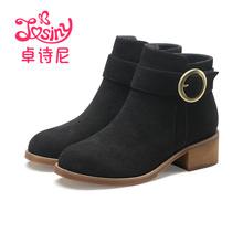 卓诗尼2017冬季新款中跟靴子圆头加绒磨砂皮短靴女粗跟196721676图片