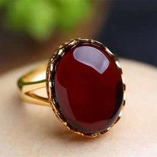 纯天然缅甸血珀戒指玫瑰金原矿蜜蜡琥珀原石925银活口女款酒红色