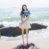 2017夏季新款韩版女装修身显瘦短袖A字裙撞色拼接印花连衣裙短裙