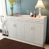 白色鞋柜简约现代玄关门厅柜多功能对开门鞋橱超薄三门四门阳台柜