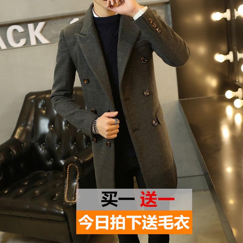 冬装男士中长款毛呢大衣青年韩版修身英伦加厚呢子风衣男装外套潮