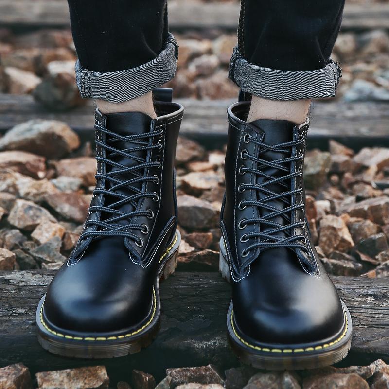 秋冬季黑军靴韩版潮流马丁靴男靴子高邦皮鞋中帮皮靴英伦高帮短靴