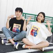 情侣装夏装2017新款中长款字母印花短袖T恤韩版学生显瘦女连衣裙