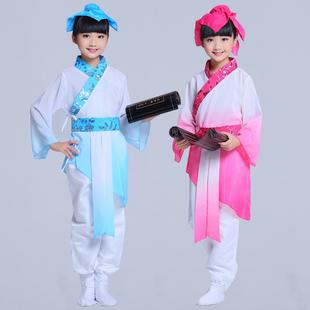 儿童古装汉服书童演出服装国学服少儿古代书生表演服中小学生男女