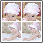 婴儿帽子春夏0-3-6个月女宝宝遮阳帽女童公主帽新生儿小孩帽盆帽
