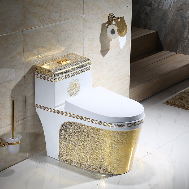 彩色马桶家用抽水坐厕节水静音虹吸超漩式座便器彩金欧式坐便器