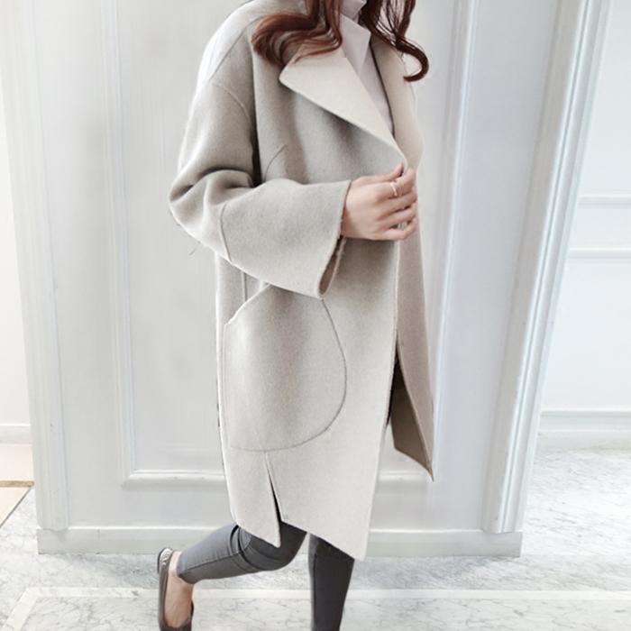 春季女装外套毛呢大衣呢子显瘦中长款休闲