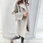 2017春季新款女装韩版休闲显瘦中长款直筒毛呢外套女呢子大衣茧型