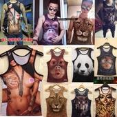 夏季衣服 3dt恤 动物图案猩猩搞笑3D短t恤男 嘟嘴猴子 背心 大码