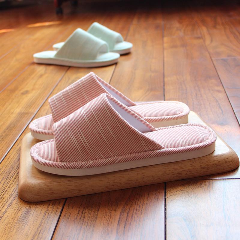 情侣条纹家居室内夏季天天拖鞋亚麻防滑