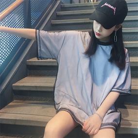 中长款夏季短袖T恤女原宿bf风宽松韩版潮双层网纱百搭打底衫学生