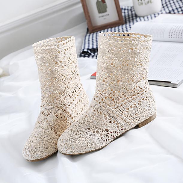 包邮2017单靴子韩版糖果色女鞋时尚针织镂空靴子网靴短靴女靴大码