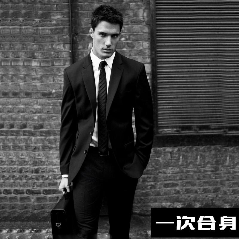 黑色西装男修身上衣西装外套面试上班秋季新款新职觉品牌正装