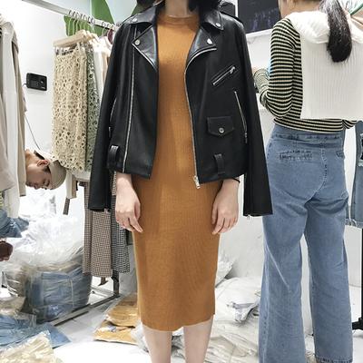 韩国ulzzang秋季2017u me新款背心裙中长款显瘦无袖针织连衣裙女