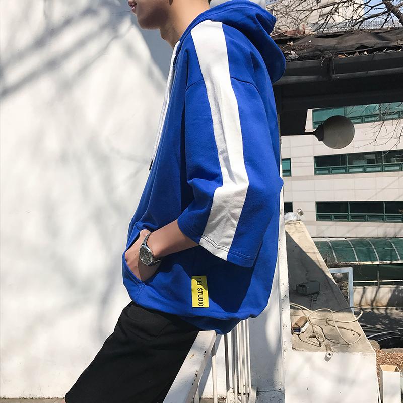 夏季港风宽松套头短袖连帽T恤男韩版带帽衫中袖卫衣薄款潮加大码