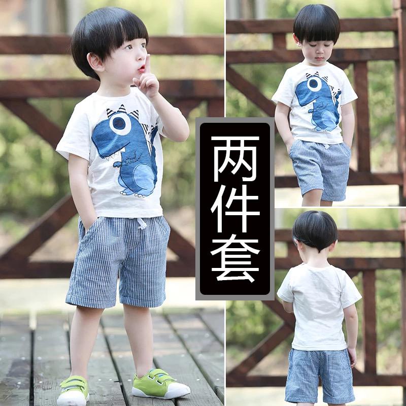 短袖两件套男童夏季韩版纯棉儿童套装宝宝夏装