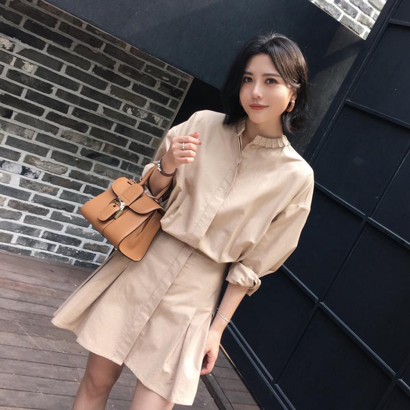 ◆ANNA◆2017秋装新款气质收腰棉质衬衫连衣裙显瘦长袖裙子夏女装