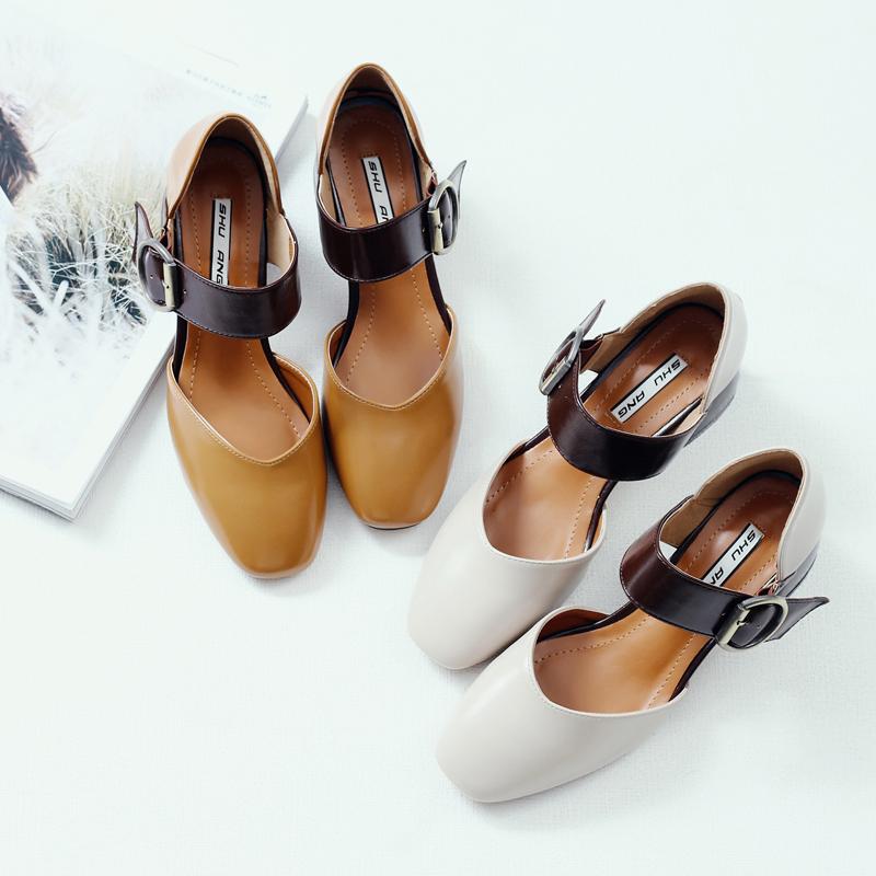 春季玛丽复古韩版百搭单鞋方头奶奶