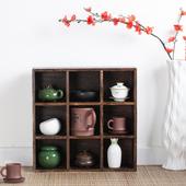 烧桐木壁挂置物架实木格子茶壶展示架小饰品创意格子架储物格