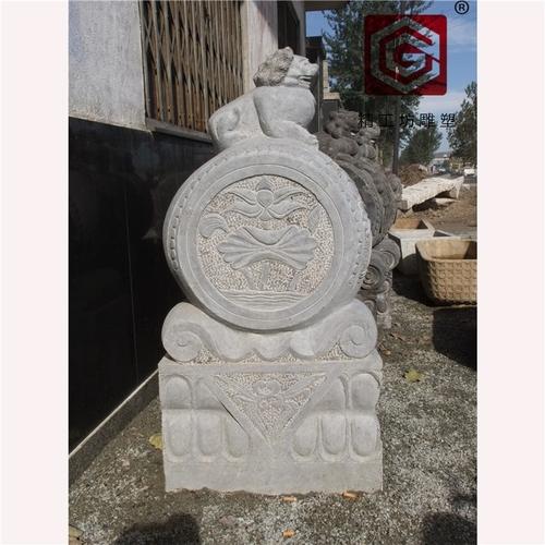 精工坊雕塑-貔貅 门墩石鼓 石头墩 青石定做招财门墩抱鼓石