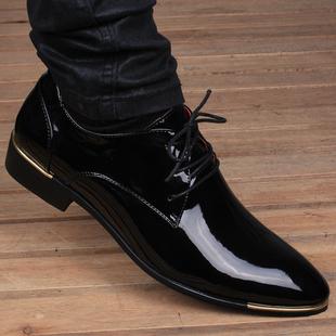 秋季男士英伦韩版尖头透气皮鞋真皮商务内增高6cm亮面休闲男鞋子
