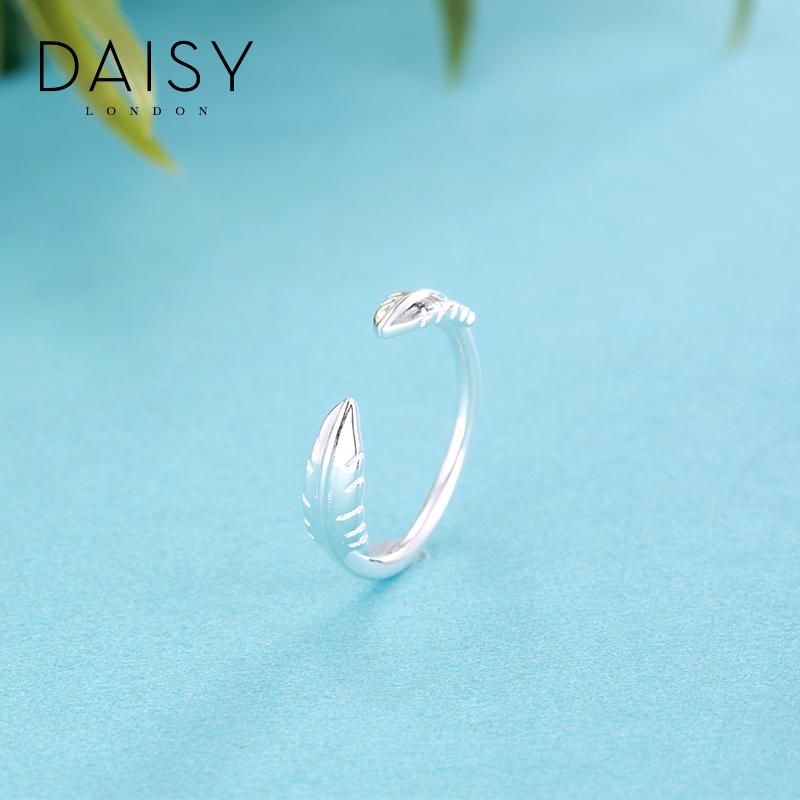 Daisy London羽毛开口戒指女 食指指环简约925银饰品关节小指尾戒