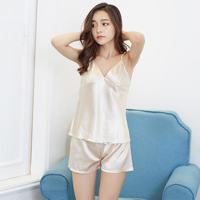 睡衣女夏吊带两件套短裤薄款性感冰丝韩版清新丝绸家居服套装大码
