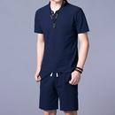 夏季亚麻套装男中国风半袖大码修身薄夏装短裤男装棉麻男短袖t恤