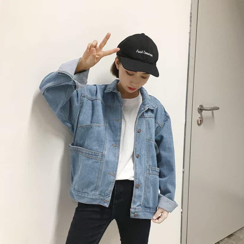 2017春装新款韩版百搭浅色大口袋牛仔外套女宽松学生短款牛仔衣潮