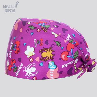 欧美纯棉手术室印花帽子男女医生工作帽护士帽包头巾手术帽卫生帽