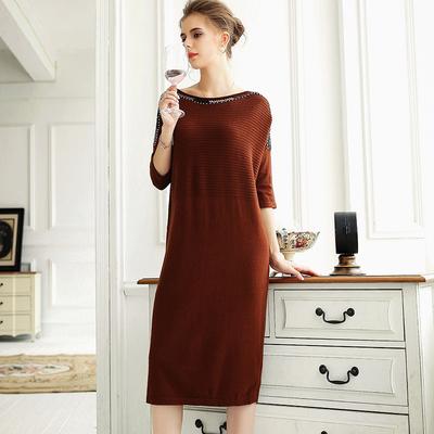 秋季复古小清新羊毛中长裙简约休闲宽松钉珠五分袖针织连衣裙女