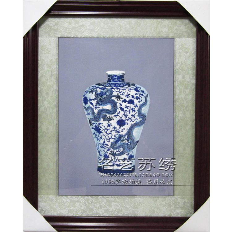 蘇繡成品 純手工刺繡軟裱單面繡 客廳裝飾掛畫 高檔禮品 青花瓷
