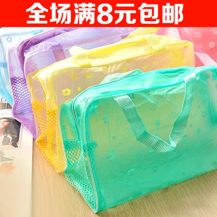 碎花透明洗浴包旅行防水收纳袋男女士出差旅游洗漱包多功能化妆包