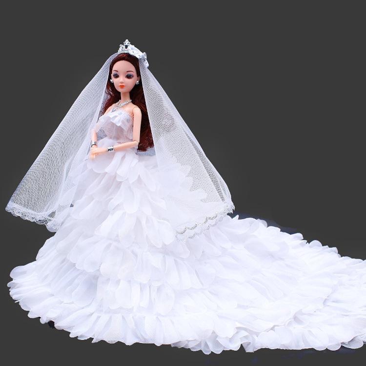 3d真眼新娘结婚摆件婚纱拖尾芭比娃娃2017正品古装玩具女孩生日礼