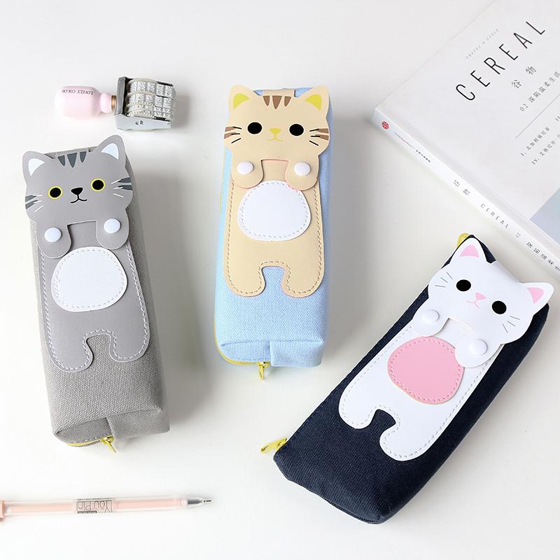 容量简约卡通韩国文具盒铅笔女学生创意可爱帆布猫咪拉链