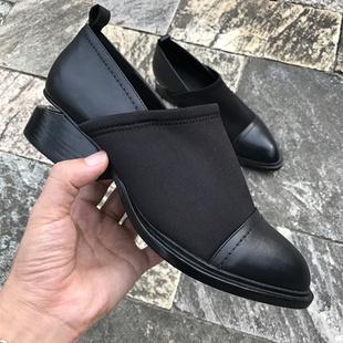 17年春秋款欧美真皮女士单鞋深口粗跟弹力布套脚低帮尖头大王女鞋