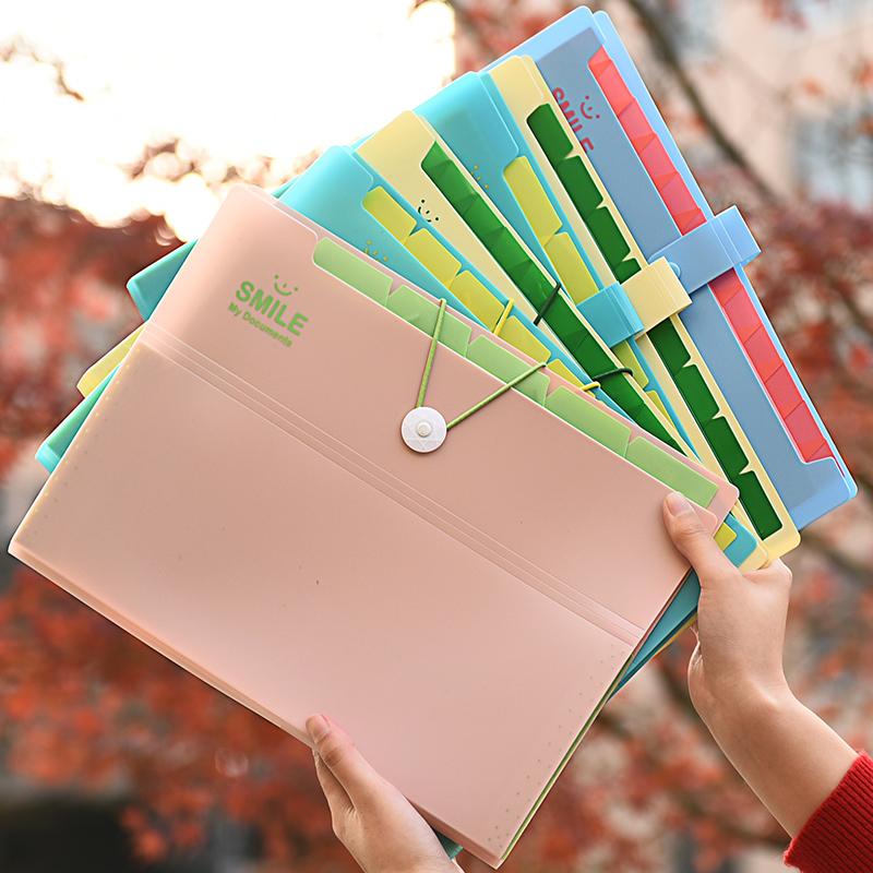 清新糖果色多层风琴包档案文件收纳袋创意商务学习文具用品文件夹