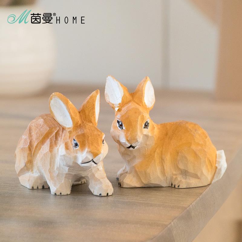 实木手工木雕摆件动物雕刻礼品客厅摆件家居饰品可爱