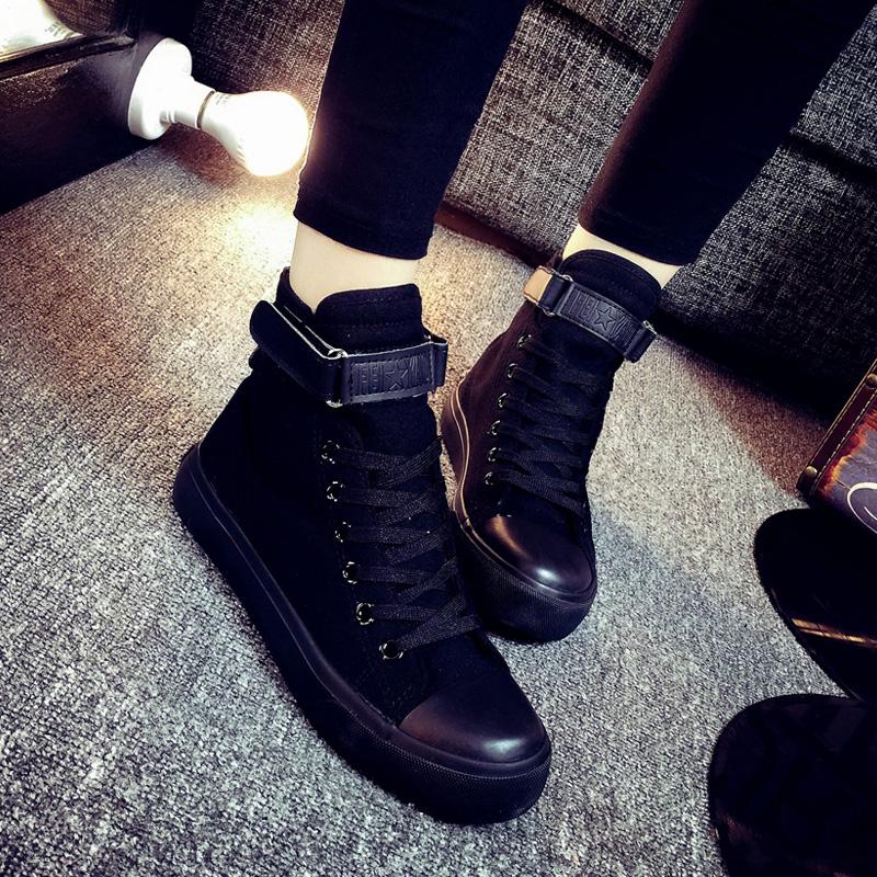 休闲女学生球鞋高帮鞋平底黑色百搭原宿韩版平帆布鞋