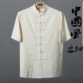 中国风夏季男士棉麻短袖上衣唐装