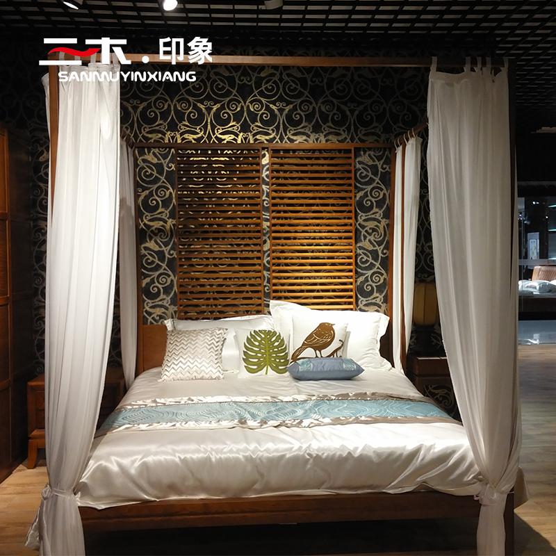 槟榔色东南亚风格家具 卧室架子床 四柱子床 新中式水曲柳实木床图片