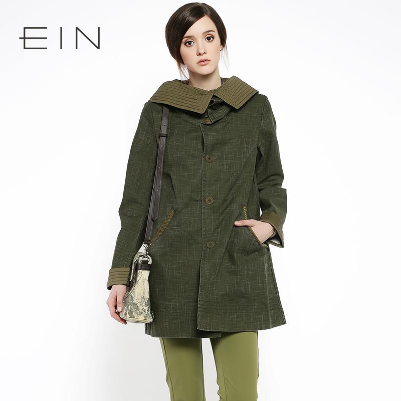 EIN言秋款风衣外套2色入舒适独特翻领女装新款风衣 - 秋款风衣女