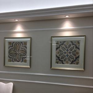 美式客厅卧室书房走道抽几何象画进口美式装饰画芯复古地毯花纹画