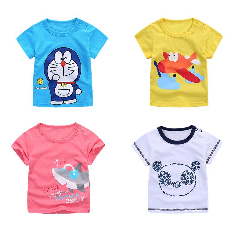 女童半袖夏季卡通打底純棉短袖上衣兒童夏裝圖案男嬰寶寶