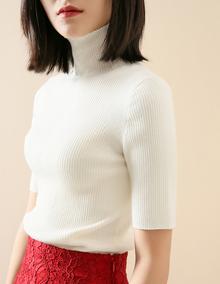 唐晶同款毛衣简约式美感 美丽奴羊毛高领针织衫毛衣打底衫黑白色