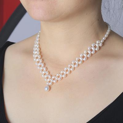 天然淡水珍珠项链吊坠时尚配婚纱新娘款s925银多层排珠宝首饰正品